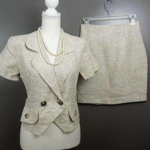 Vintage Linen Skirt Suit Sz 4